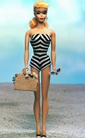 Barbie swims