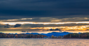 Vermont lake sunset